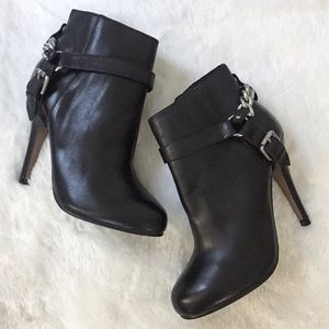 Aldo Genuine Leather Moto Heeled Ankle Booties